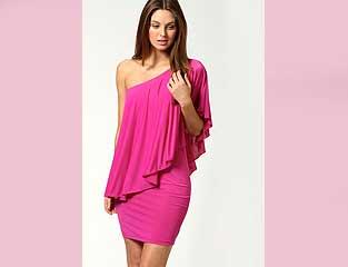 Off the One Shoulder Pink Dress