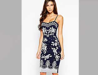 Blue & White dress with zip