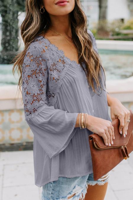 Grey Crochet Lace Button Top