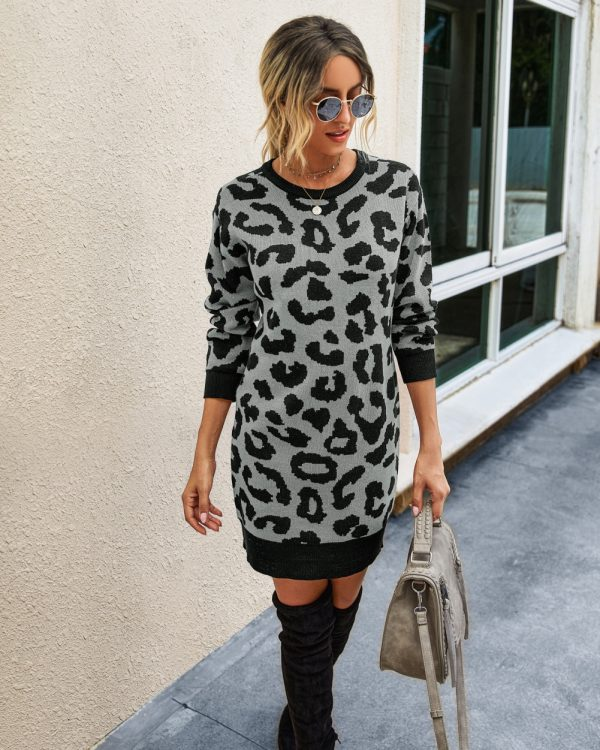 Round Neck Leopard Knit Dress