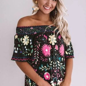 Black Floral Shift Top