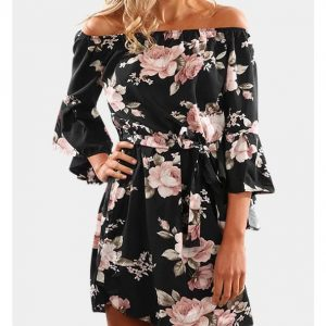 Black Floral Print Off The Shoulder Dress (has a belt) | Eternal Beauty | Contact us for more information.