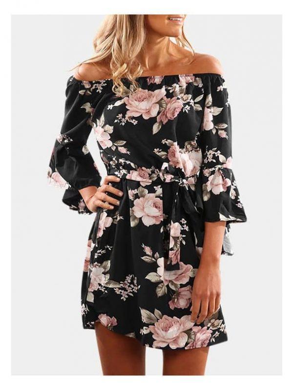 Black Floral Print Off The Shoulder Dress (has a belt) | Eternal Beauty | Contact us for more information.