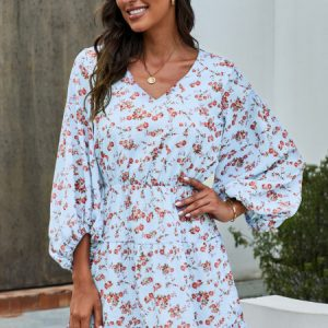 Sky Blue V Neck Lantern Sleeves Floral Tunic Dress
