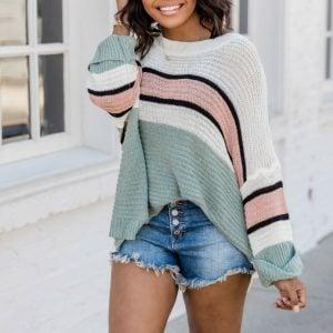 Autumn Bat Sleeve Striped pullover Sweater