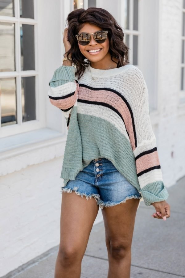 Autumn Bat Sleeve Striped pullover Sweater