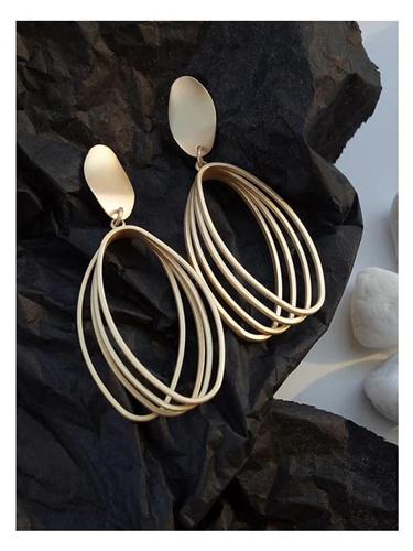 Gold-Geometric-Matte-Earrings