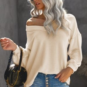 Beige Billowed Sleeve Thermal Knit Top
