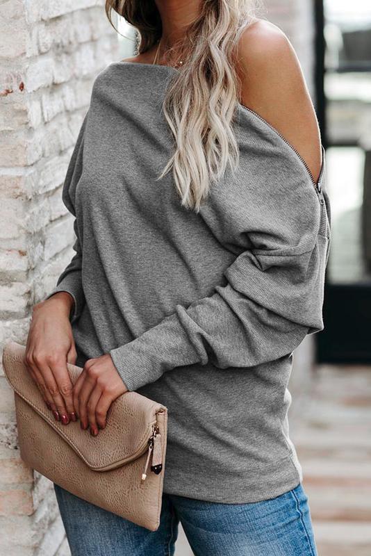 Gray Ribbed Zip Knit Top