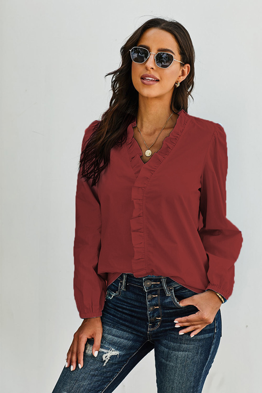 Wine Long Sleeves Ruffles Blouse