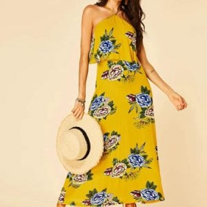 Yellow-Floral-print-backless-design-halter-dress