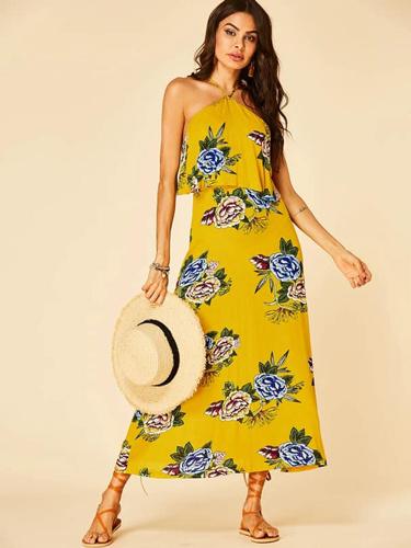Yellow-Floral-print-backless-design-halter-dress