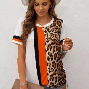 Leopard Colorblock Mixed Print T-shirt