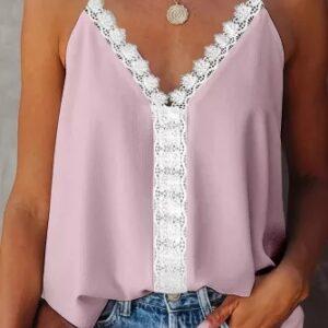 Pink Lace V Neck Stitching Tank Top
