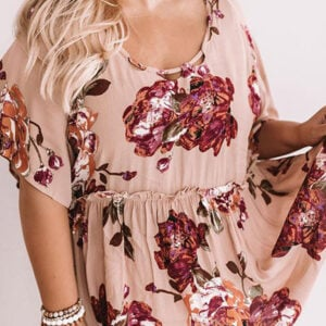 Pink Plus Size Floral Babydoll Tunic Top