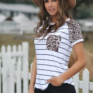 Striped Leopard Pocketed Patch Top